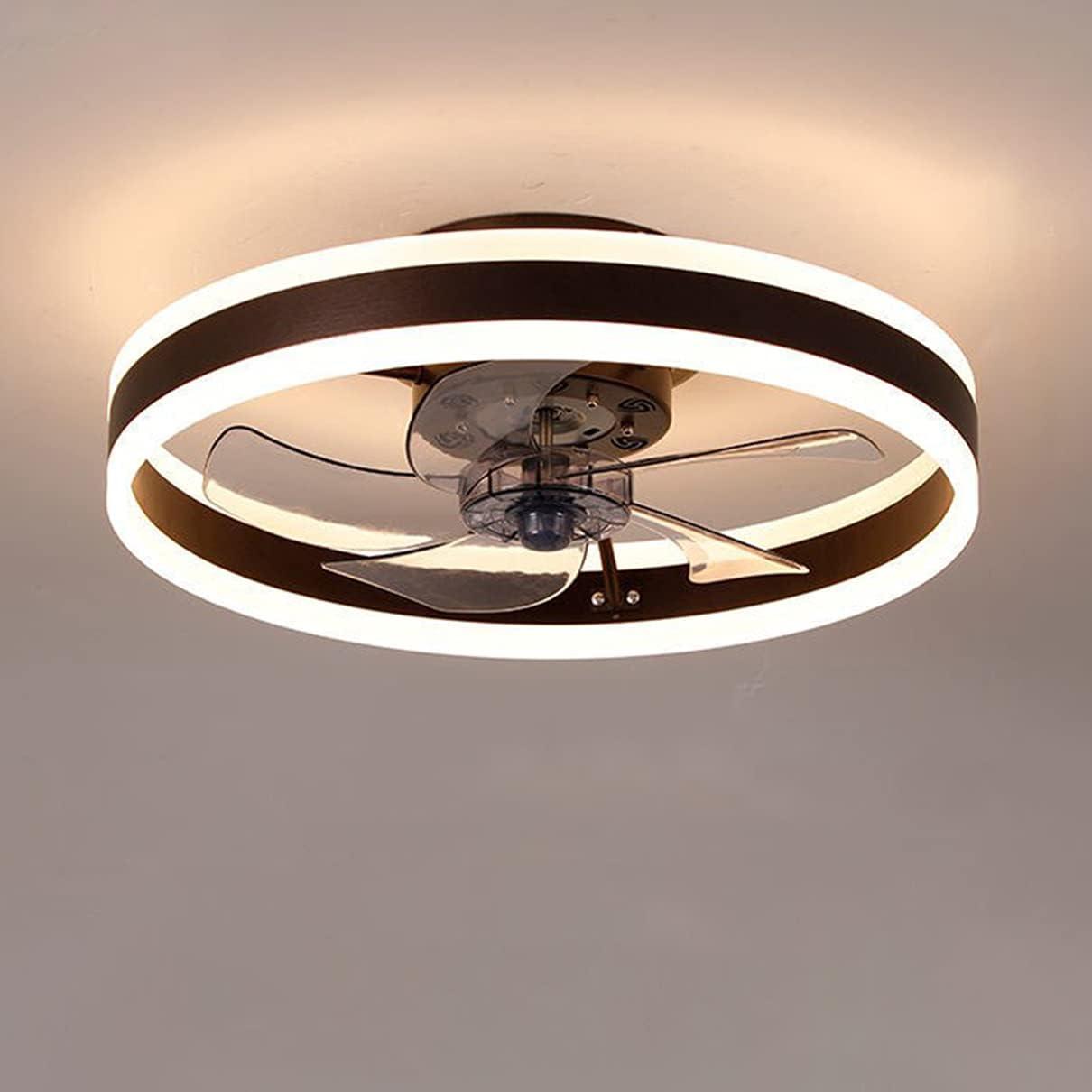 Dagea LED Ventilador de Techo con Iluminación, Moderno Dormitorio Mudo Ventilador Lámparas de Techo, con Control Remoto Regulable, Temporización, para Sala de Estar, Habitación Infantil,Marrón,50CM