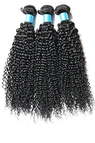 YanT HAIR Lot de 3 extensions de cheveux humains péruviens vierges bouclés Qualité 7A 45,7 cm, 50,8 cm, 50,8 cm, couleur noire naturelle