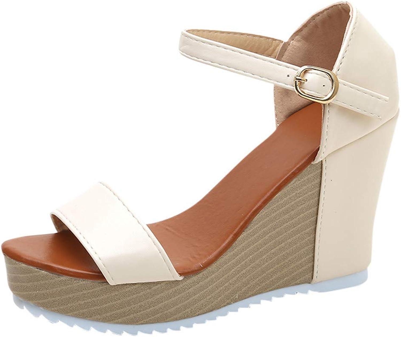 Gcanwea Women Casual Wedge Sandals Summer Buckle Strap High Heel Platform Peep Toe shoes bluee 40(US 7.5)
