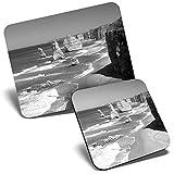 BW - Alfombrilla de ratón y posavasos, diseño de la playa de los doce apóstoles Victoria Australia (23,5 x 19,6 cm y 9 x 9 cm, para ordenador y portátil, oficina, regalo, base antideslizante #40923)