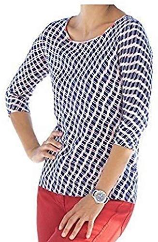 Malvin Pullover Damen mit Alloverdruck Weiß Blau Gr. 36