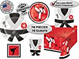 Karate Birthday Party Supplies Plates, Napkins, Cups, Tablecloth, and Stickers – White, Red and Black Karate, Martial Arts or Ninja Birthday Party – Made in the USA (16 guests, 78 pieces)