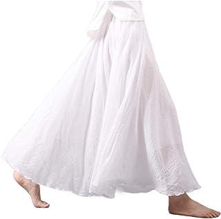 Women Big Hem Fashion Folk Style Linen Plain Office Pencil Skirts
