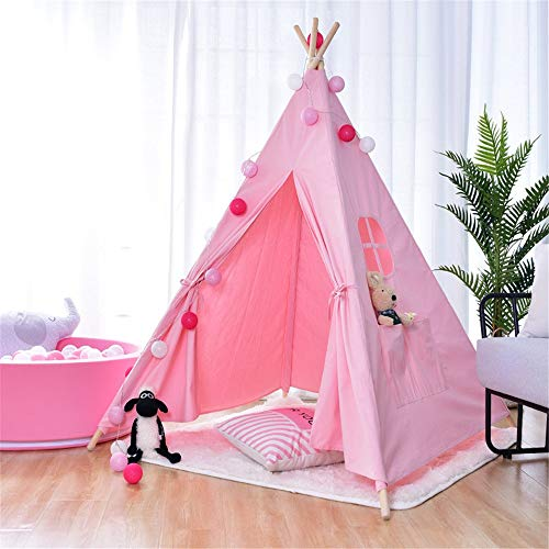 Nvshiyk Kids Teepee Play Cotton Canvas Tent 4-Pole Canvas Theater Toy Foldable Children's Play Tent Indian Theater Girl or Child Indoor and Outdoor Children's Toys (Color : Pink, Size : As shown)