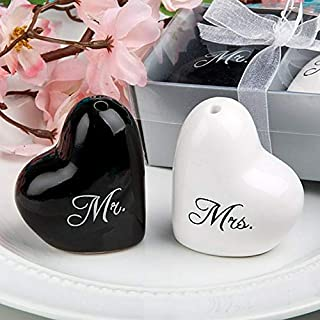 Salt and Pepper Shaker Set Mr. and Mrs. Heart Design Ceramic Decorative Home Restaurant Dining Room Table Kitchen Decor Sp...