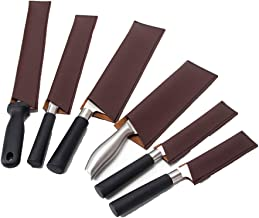 Leather Knife Sheath, Knife Guard, Knife Cover Sleeves, Waterproof Knife Protectors, Heavy Duty Universal Knife Edge Guard Set Of 6 Set with 6 sizes Brown