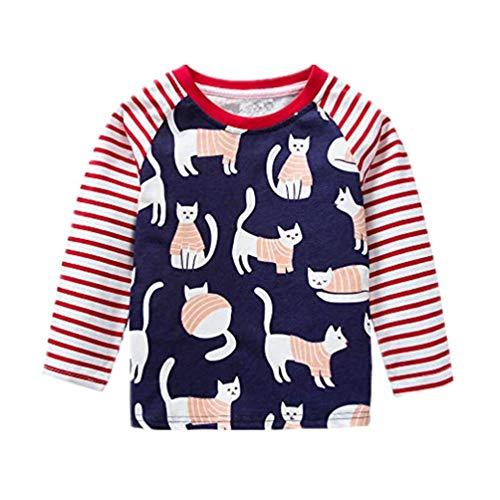 Baby Mädchen Jungen Lange Ärmel Karikatur Streifen Katze Kleinkind Kinder Tops Hemd Rot 18M-6T