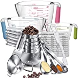 Measuring Cups And Spoons Set,AIKEXIN Stainless Steel 20 Piece Set,7 Measuring Cups & 6 Measuring Spoons & 3 Transparent Plastic Measuring Cup, 1 Leveler,1 Measuring Conversion Chart and, 2 Metal Ring