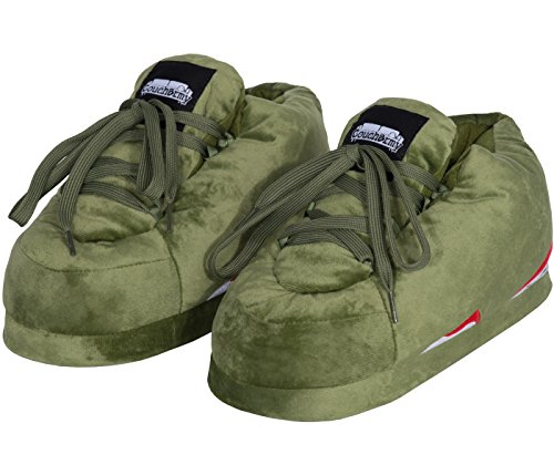 Coucharmy Jay Six Hausschuhe Unisex Premium Home Sneakers Pantoffel (36-46) (M=EU 40-42, Olive/Weiß/Rot)