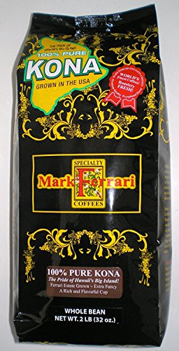 100% Pure Kona Coffee-Whole Bean, 2 LB Bag