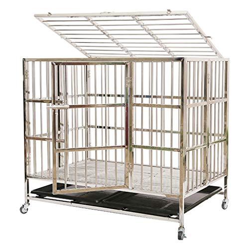 YIXIN2013SHOP Hundekisten/Zwinger Edelstahl-Hundekäfig Folding Indoor Pet Cage mit WC Haustierkäfig (Size : S)