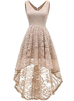 MUADRESS 6666 Women s Sleeveless Hi-Lo Lace Formal Dress Cocktail Party Dress V Neck Champagne Medium
