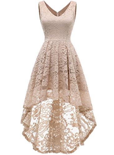 MuaDress 6666 Damen Kleid Ärmellose Cocktailkleider Knielang Abendkleider Elegant Spitzenkleid V-Ausschnitt Asymmetrisches Brautjungfernkleid Champagner XS