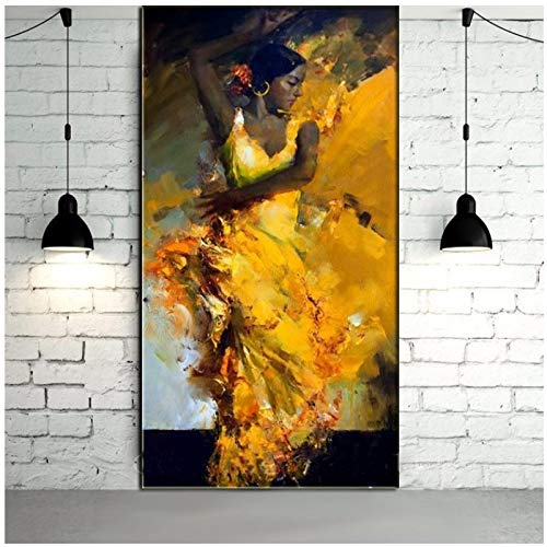 Vektenxi Painted Abstract Portrait Sexy Spanish Flamenco Dancer in Yellow Dress Painting on Canvas Wall Artwork Christmas -60x120cm No Frame