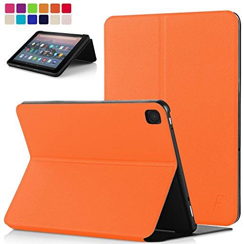 FC Hülle für Neue Fire HD 10 Tablet - Schutz Amazon Fire HD 10 Tablet (9. Gen 2019 und 7. Gen 2017) Hülle Ständer - Ultra Dünn und Leicht, Smart Auto Schlaf Wach - Orange