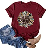 Women's Dandelion Print T Shirts,Summer Tops for Women Womens V Neck Short Sleeve Top Casual Cute Printed Tshirts Blouse Summer Casual Loose Fit Graphic Shirts Womens Summer Tops Plus Size for Work