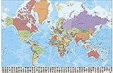 Poster Carte du Monde avec Drapeaux en Français (91,5cm x 61cm) + Un Poster Surprise en Cadeau!