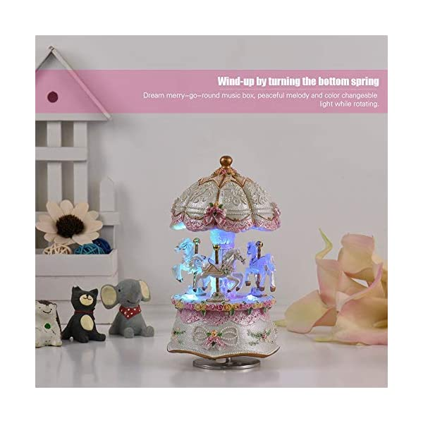 Music Box Carousel Color Change LED Luminous Light 3-Horse Rotating Windup Musical Gift Melody Castle in The Sky Artware… 4