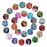 FANTESI 28 Piezas de Vidrio Imanes de Refrigerador, 25 mm Divertido Árbol Imanes de Nevera para Gabinetes de Oficina, Pizarras, Fotografías, Imanes Decorativos para Regalo