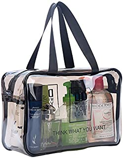 TSA Approved Toiletry Bag Clear Travel Cosmetics Bag with Handle Strap & Durable Zipper,Large Waterproof Compliant Bag Carry-On Luggage Pouch Makeup Bag for Women,Men