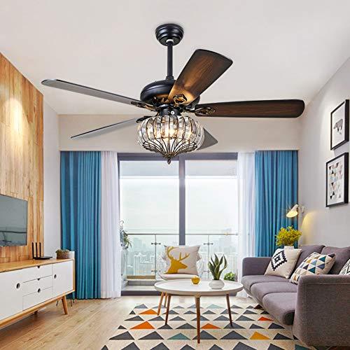 LaMP-XUE Plafondventilator met lichtset, kristallen luchter 52 inch, metalen quiet 5 omkeerbare bladen, afstandsbediening, plafondventilator, licht, woonkamer, kristallen ventilator