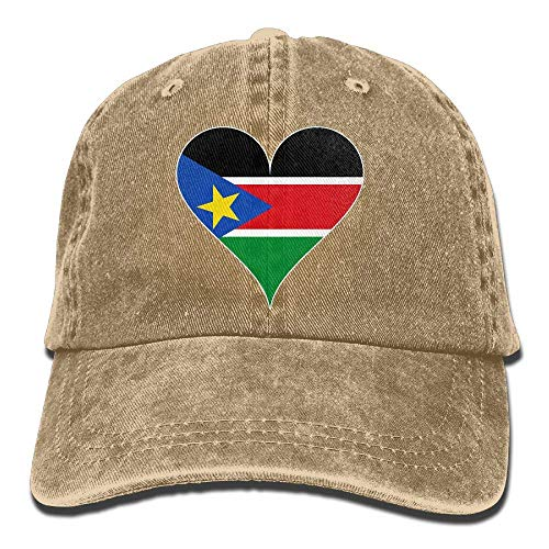 Ahdyr Gorra de béisbol Unisex Sombrero de Mezclilla de algodón Bandera de Sudán del Sur Corazón Snapbac ajustablek Gorra de Caza-Natural