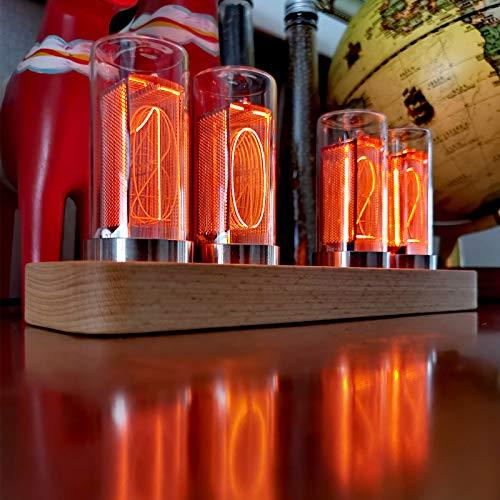 Nixie röhren Uhr, Glühuhr, Digitaluhr, Kreative LED Uhr mit USB Typ C, Als Geschenk für Freunde und Kinder