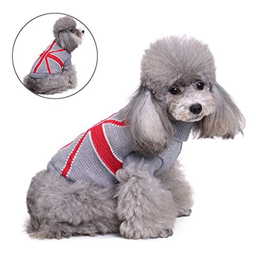 Mode hond trui Vest warme jas zachte breiwol Winter truien gebreide gehaakte kleding voor kleine middelste honden,Gray,XS