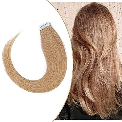 Extenson Capelli Veri Biadesivo Tape in Hair Extension Adesive Remy Human Hair 40g/set 20 Fasce - 35cm 27 Biondo Scuro - Lisci Naturali Umani Invisibile