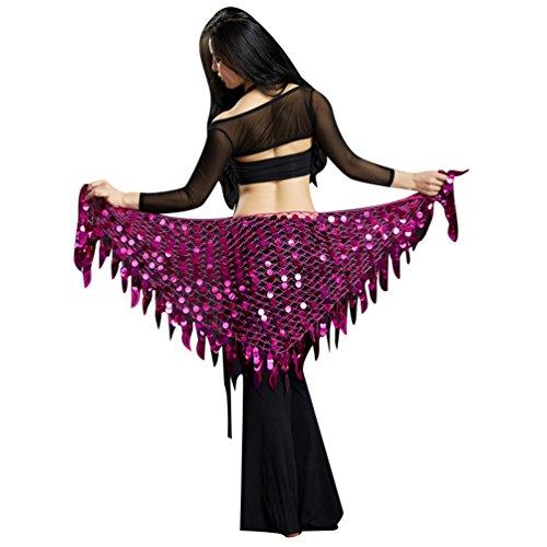 YuanDian Mujer Triángulo Danza Del Vientre Cinturon Cadera Pañuelo Bufanda Brillantes Lentejuelas Sirena Profesional Tribal Árabe Oriental Danza Cintura Cadena Faldas Ropa Magenta