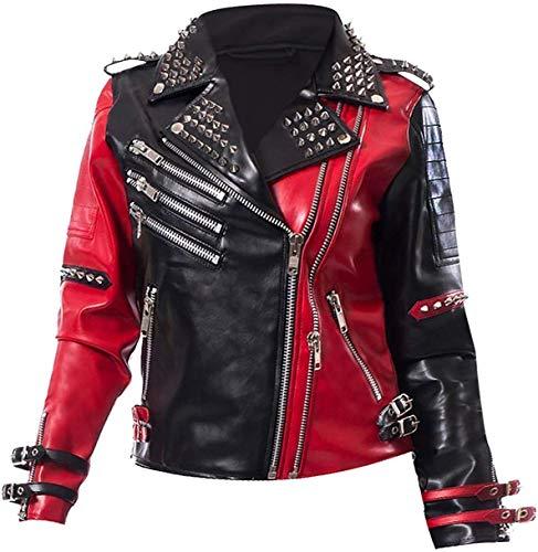 Chaqueta de piel para mujer sin corazón Harley Quinn con tachuelas