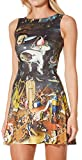 Sister Amy Young Girl Cartoon Printed Stretchy Sleeveless Pleated Fit and Flare Skater Dress Alien