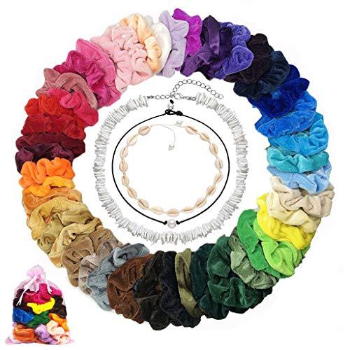 48 Pcs Scrunchies de velvet scrunchies hair scrunchies de gomas de Pelo de lazo de pelo mujer niña elástica terciopelo accesorios...