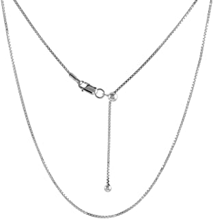 Sterling Silver Adjustable Chain Necklace Nickel Free, 22-24 inch