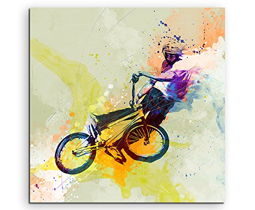 BMX II 60x60cm Wandbild SPORTBILD Aquarell Art tolle Farben von Paul Sinus