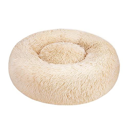 SlowTon Pet Calming Bed, Donut Cuddler Nest Cojín de Gato de Felpa Suave y Cálido para Gatos con Esponja acogedora Fondo Antideslizante, Lavable a Máquina 15.7in / 19.7in / 23.6in (XL ( 80CM), Caqui)