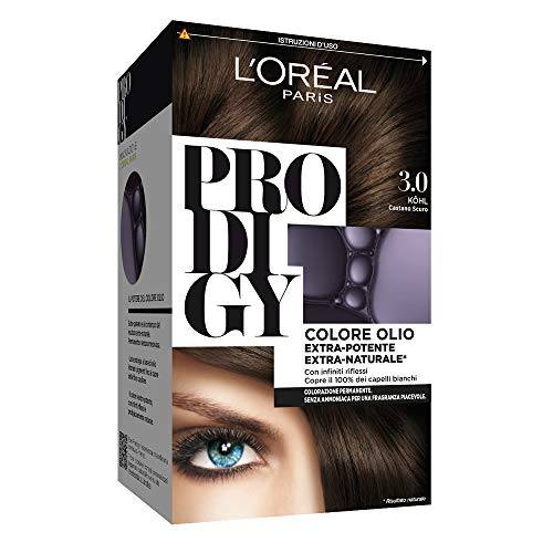 L'Oréal Paris Prodigy Colorazione Permanente senza Ammoniaca, Risultato Colore Naturale, 3.0 Kohl Castano Scuro