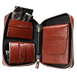 AMANCY Classical 5 Holder Brown Leather Travel Cigar Humidor Case Set ,Portable Cigar Bag Pouch with 8 oz Flask ,Cigar Lighter and Cutter Contained