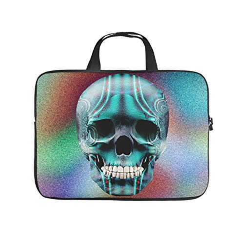 Multifunctional Skull Laptop Sleeve Carry On Handle Case - for Work/Business/School/College/Travel white2 10 Zoll