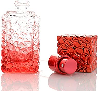 Glass Water Cube 20ML Mini Portable Glass Refillable Perfume Bottle with Foil Atomizer&Empty Parfum Cosmetic Case for Tra