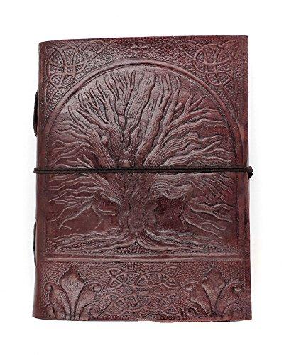 Chic & Zen - diario, agenda, blocchetto per appunti, Vera Pelle, Vintage, Albero di Vita, 13 cm x 17 cm, carta premium