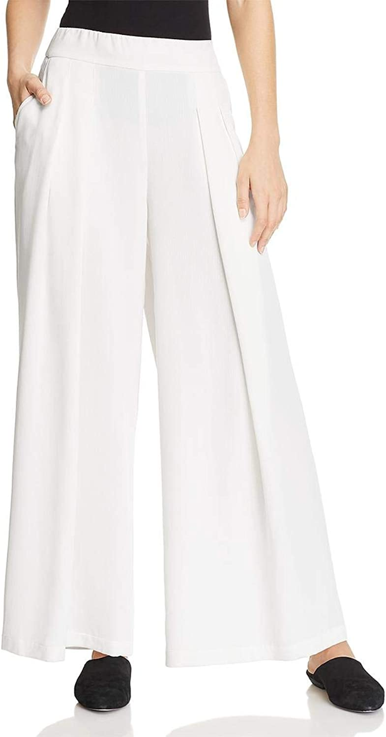 EileenFisher Womens Tencel Corded Wide Leg Pants White M