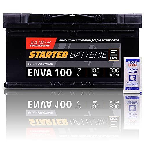 ENVA Autobatterie 12V 100Ah 830A Starterbatterie PKW Batterie Wartungsfrei +30{79056e851a839fbc22badaf34a10776697ce0041d33b980142d3351f4bab0cc7} Startleistung inkl. Polfett