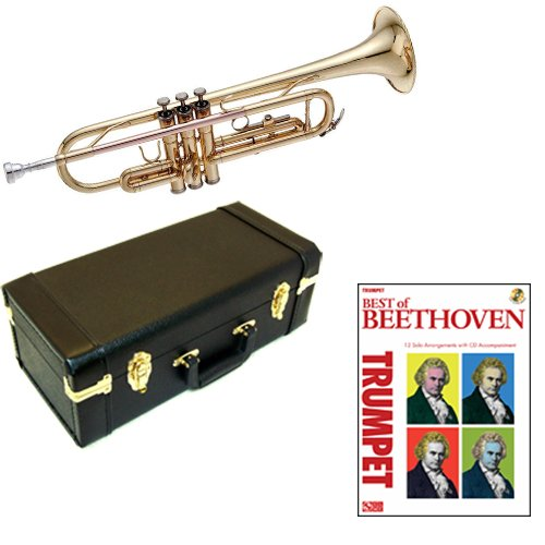 Best of Beethoven Bb Student Trumpet Pack - Includes Trumpet w/Case & Accessories & Best of Beethoven Play Along Book
