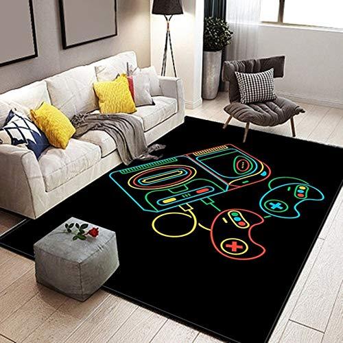 Alfombra Salón Consola de Juego Encargarse de Video Controlador Patrón Alfombra Negro Alfombras para Sala, Comedór & Dormitorio, Fácil de Limpiar (Color 1, 120 × 160 cm)