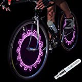 DAWAY A08 Bike Tire Valve Stem Light - LED Waterproof Bicycle Wheel Lights, Fun Mini Bycicle Accessory, for Burning Man, Christmas, Halloween, Thanksgiving, Birthday, 1 Pack, Pink Graphics