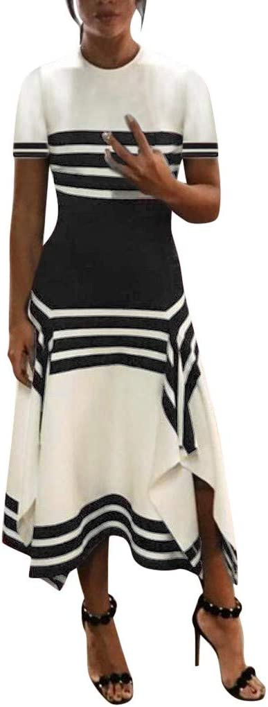 Fudule Women's Dress Women Dress, Women's Dress Women's Working Dress Stripe Party Dress Mini Dress