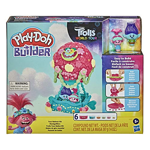 Play-Doh Builder DreamWorks Trolls World Tour Balloon Toy Building Kit for Kids 5 Years and Up with 6 Cans of Non-Toxic Modeling Compound - an Easy and Fun Craft Activity