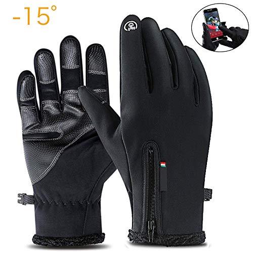 Winterhandschuhe für Herren Damen Touchscreen Schwarz Handschuhe Wasserdichter Fahrrad Handschuhe Outdoor Sport Winterhandschuhe, Radsport Handschuhe, Warme Winddicht Rutschfestes Geeignet für Winter