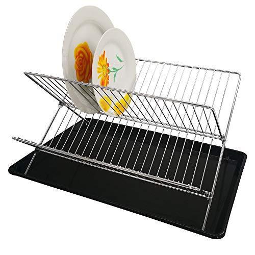 Escurridor de platos plegable con bandeja | presenta un diseño de dos niveles expandibles para una capacidad extra, acabado de cromo antioxidante y una base antideslizante | de Jean-Patrique